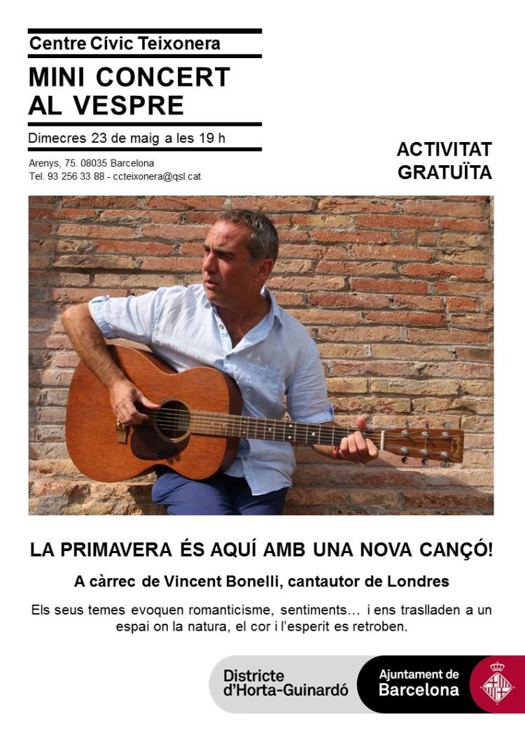 Poster for Centre Civic Teixonera Dimecres 23 Maig 2018 mini concert